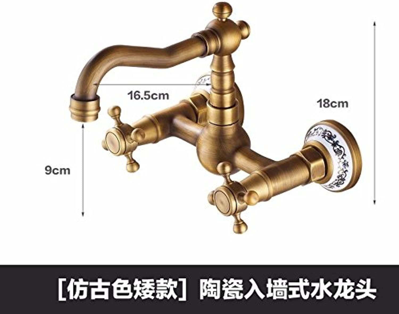 ETERNAL QUALITY Bacino del bagno lavandino rubinetto in ottone Miscelatore rubinetto bagno Miscelatore Toccare Toccare due volte due fori a caldo e a freddo a parete gire