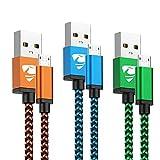 Yosou Câble Micro USB [1m/Lot de 3] Cable Android Haute Vitesse Cable USB Micro USB Nylon Tressé Câble Chargeur Rapide pour...