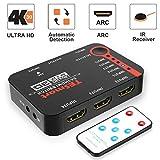TESmart 5x1 HDMI Switch 5 Entrées 1 Sortie, HDMI Switch 4K à 30Hz, Commutateur HDMI 5 Ports Répartiteur, pour Xbox 360/One, PS3/PS4,etc Soutien à 4K@30Hz, Full HD1080P, 3D avec Télécommande IR (Noir)
