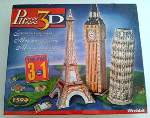 European Landmarks Tri-Pack, 159 Piece 3D Jigsaw Puzzle Made by Wrebbit Puzz-3D