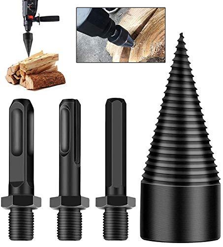 FLRAUTO Firewood Drill Bit Wood Splitter,Electric Log Splitter Drill bit,3 pcs Wood Splitting Drill...