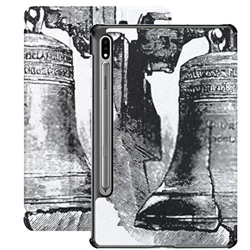 Funda para Samsung Galaxy S7 Plus con Soporte para bolígrafo S Liberty Bell Funda de Cuero PU con ilustración grabada Vintage para Samsung Galaxy Tab S7 Plus 12.4 Pulgadas 2020, Funda para Samsung Ga