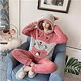 Pijamas Otoño e Invierno Pijamas de Lana de Coral Pijamas de Franela Gruesa cálida para Mujer Traje de Servicio a Domicilio Conjuntos de Pijamas,B,XL