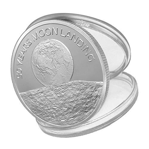 Hellery Moneda Conmemorativa del 50 Aniversario De Aterrizaje Lunar De 2019 Plata - #1