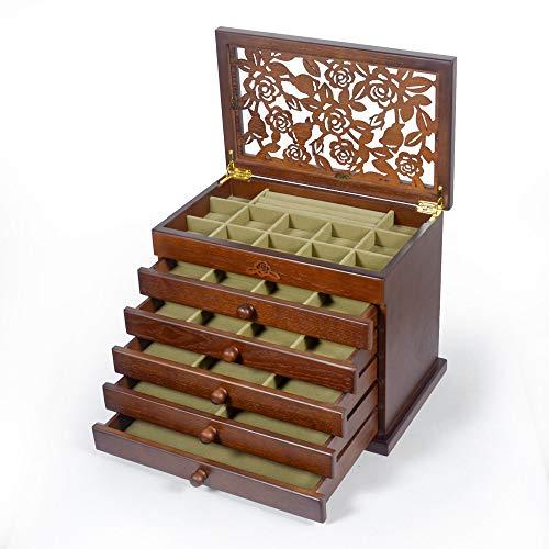 Kendal Real Wood/Wooden Jewelry Box Case (Dark Brown Grey Velvet 2021 Upgraded)