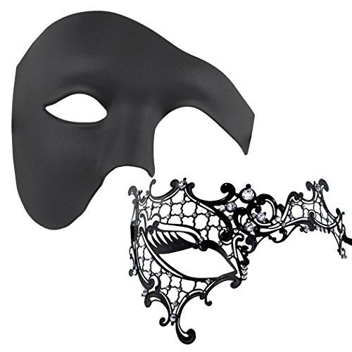 Lot de 2 Pièces Unisexe vénitien Mascarade Masque Parti Cosplay Halloween Masque, Plastique, Black-3, Taille M