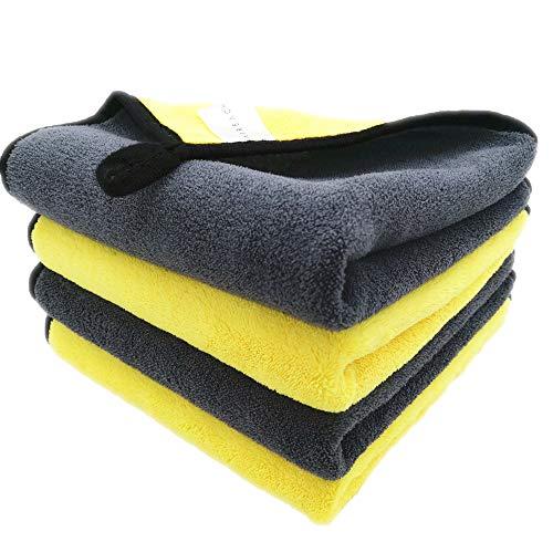 Faireach Microfasertuch Autopflege 4er Set, Mikrofasertücher Poliertücher Trockentuch, Microfaser Tuch Auto für Polieren Waschen Trocken Staubwischen und Pflegen, 40 x 40 cm