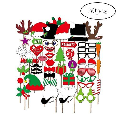 Wilk Christmas Santa Hut-Partei-schablonen Photo Booth Props Mit Einem Stock - Packung Mit 50