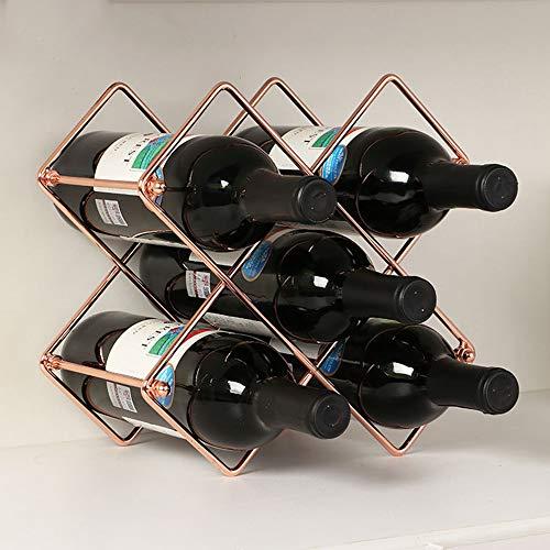 Yzbtj Metal Wine Rack, 5 Bottles Stackable Wine Holder Free Standing Storage for Kitchen Dining Room Organiser, Home Decoration,Rose Gold