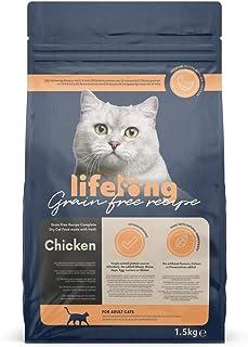 Marca Amazon - Lifelong - Alimento seco completo para gatos con pollo fresco. Receta sin cereales - 1,5 kg