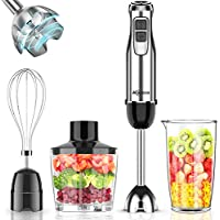 Makoloce 800W 12-Speed 4-in-1 Stick Hand Blender with 500ml Food Grinder, 600ml Container