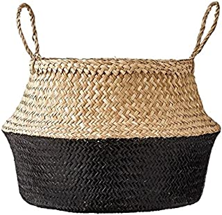 Hands Craft Natural and Black Dipped Seagrass Belly Basket Panier Boule Storage Nursery Toy Laundry Easter … (Medium)