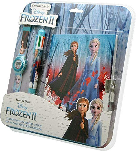 Frozen Set Reloj Digital + boligrafo 6c + Diario 2 Pulsera, Adultos Unisex, Multicolor, Unico