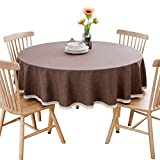 LEMON. Floral Solid Cotton Linen Tablecloth Resistant Table Cover for Kitchen Dinning Tabletop Decoration,Camping Picnic Circle Table Cloth(Round 80 Inch - Dark Brown Tablecloth)