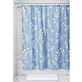 iDesign Isla Floral Duschvorhang, großer Badewannenvorhang aus Polyester, blau