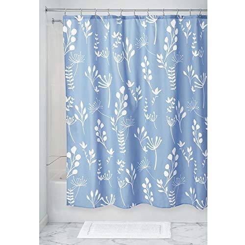 Preisvergleich Produktbild iDesign Isla Floral Duschvorhang,  großer Badewannenvorhang aus Polyester,  blau