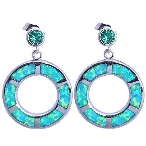 Fête d'anniversaire pour femme Vert opale de feu Argent poinçonné Bijoux tendance Boucles d'oreille pendantes Opale Bijoux Je1159