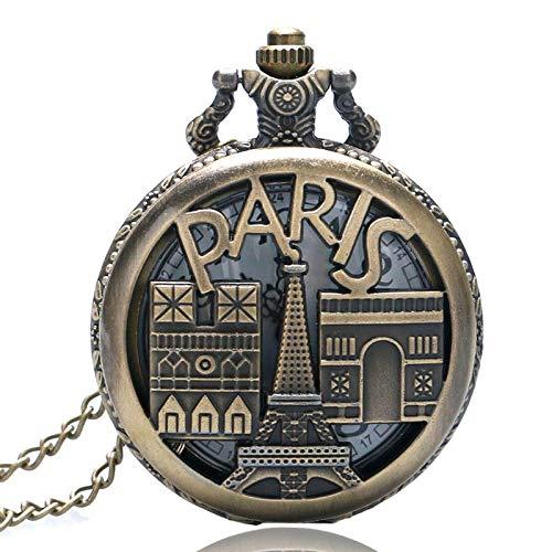 Francia París Recuerdo Torre Eiffel Arco triunfal Hombres Mujeres Regalos Bolsillo Reloj de Cuarzo Collar Cadena para Reloj Unisex