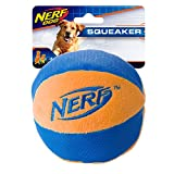 Nerf Dog Trackshot Ball Dog Toy with Interactive Squeaker and Crunch, Lightweight, Durable and Water Resistant, 4.5 Inches, For Medium/Large Breeds, Single Unit, Blue/Orange