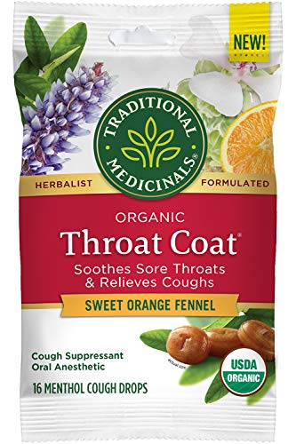 Traditional Medicinals Throat Coat Organic Cough Drops, Sweet Orange Fennel with Menthol, Soothes Sore Throats & Relieves Coughs, 16ct.