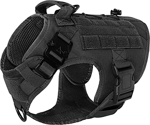 Taglory Tactical Dog Harness for Medium Dogs, No Pull Military Dog Vest Harness with Handle for Training Walking, Hook and Loop for Dog Patch, Black, M