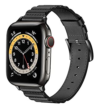 GamCap Leather Bands Compatible with Apple Watch 38mm 40mm 42mm 44mm,Top Grain Genuine Leather Replacement Smart Watch Band for iWatch Series 6/5/4/3/2/1/SE/Sports/Edition for Men Women
