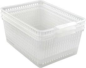 Qsbon Large Plastic Storage Organization Bins Basket, Set of 3, Clear