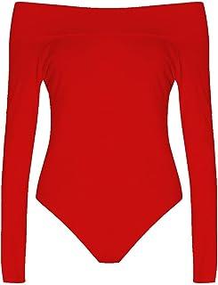 833356df9d3a Womens Plus Size Long Sleeves Off Shoulder Plain Viscose Jersey Bodysuit