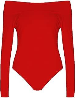Fast Fashion Womens Plus Size Long Sleeves Off Shoulder Plain Viscose Jersey Bodysuit
