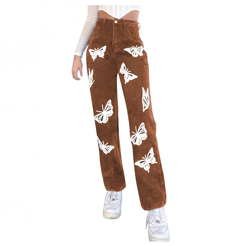 Padaleks Women High Waist Jeans Wide Leg Straight Demin Print Pants Casual Loose Trousers Y2k Fashion Streetwear