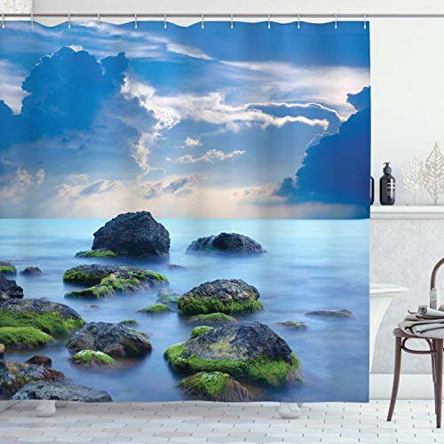 EdCott Misterioso Mare sul Mare sulla Costa caraibica maestoso Tessuto Bagno Modello Facile da Pulire Tenda da Doccia Adatto per Bagno Bagno Tenda Hotel Azzurro