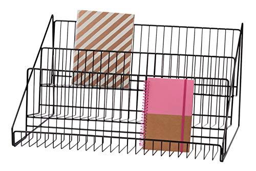 "SSWBasics 3-Tier Black Wire Countertop Rack - 12¾""H x 23½""W x 14' D"