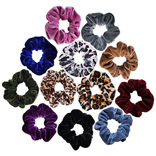 Scrunchies Velvet Elastic Scrunchie Hair Bands Bobble Hair Scrunchy Hair Ties Ponytail Holder for Girls and Women (12Color)