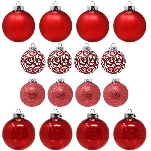 Sleetly Red Christmas Ball Ornaments, Set of 16