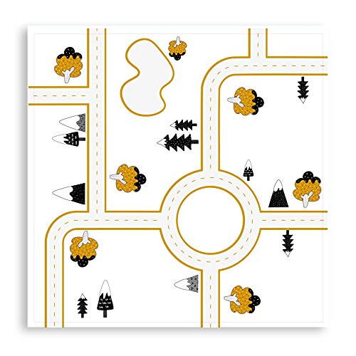 yabaduu Y003 Möbelaufkleber Spielfolie Design Straße Verkehr passend für Lack Tisch Spieltisch Kinderzimmer Möbeltattoo 53x53 cm (Senfgelb)