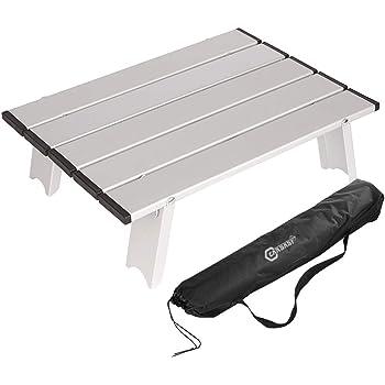 ロールテーブル アウトドア テーブル キャンプ ソロ アルミ 40.5×29×12cm 超軽量0.6kg 耐荷重15kg ミニ 小型 ケース付 折りたたみ コンパクト
