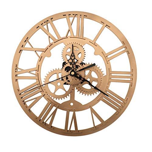 OTOTEC - Reloj de Pared con números Romanos Redondos de Hierro Dorado, decoración para salón