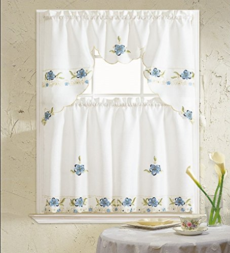 B&H Home Aster Floral Embroidered 3-Piece Kitchen Curtain Window Treatment (Blue)