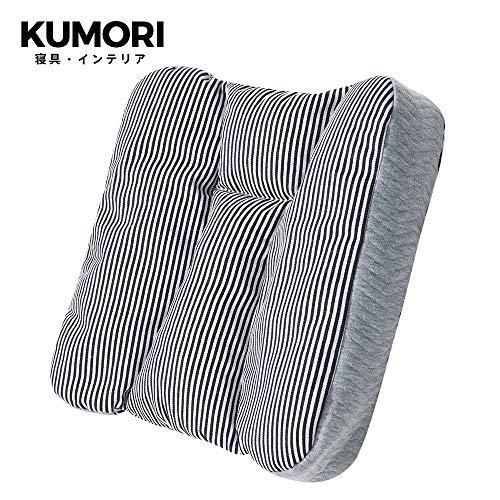 クモリ(Kumori) 多機能 クッション パイプ&ラテックス充填 背もたれ チェアパッド 座面クッション 座布団 ごろ寝枕 高さ調整 丸洗いOK (42X42X8cm ブルー)