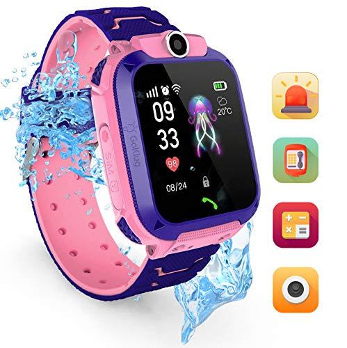 Kinderuhr Mädchen Digital Smart Watch Kinder GPS Ortung Telefon Rosa Smartwatch Mit Spiele Kinder Handy Kinderuhr Anruf Funktion Schrittzähler Pink Kinder Telefon Pink Wasserdicht