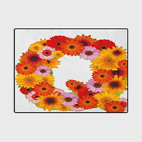 Letter Q Large Area Rugs Outdoor Runner Rug Floral Capital Q Ornamental Spring Florets Romantic Inspirational Initials Print Desk Chair mat for Carpet Multicolor 3 x 5 Ft