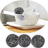 Simplelife - Juego de 6 bolas de limpieza para platos de acero inoxidable, color plateado