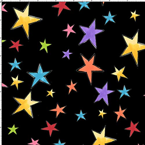 Loralie Designs - Stars Black Fabric by The Yard for Sewing - Loralie's Star Fabric Collection - Black Star Fabric - 100% Cotton/Washable