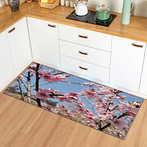 Alfombra en el baño Hogar Sala de Estar Cocina Alfombra Planta Flores Patrón Entrada Felpudo Dormitorio Pasillo Alfombra A8 50x160cm