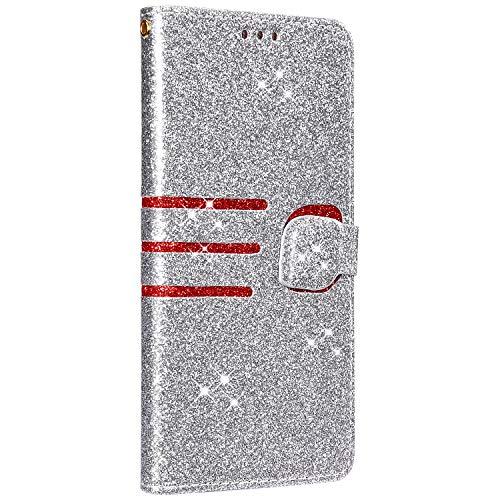 Saceebe Compatible avec iPhone 6S 4.7 Coque Housse Portefeuille Cuir Étui Paillette Brillante Diamant Glitter Strass Pochette Flip Case à Rabat Protection Stand Support,Argent