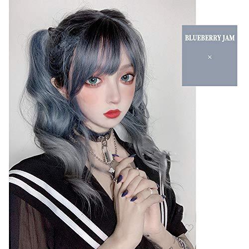 Perruque Femmes 60CM Lolita longue onduleux droite Mixed Blue Ash Ombre Bangs mignonne de partie synthétique Halloween cosplay perruque Postiches