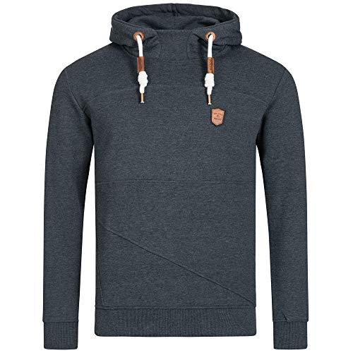 Indicode Herren Boldero Sweatshirt mit Kapuze | Warmer Hoodie sportlicher Kapuzenpullover modernes Kapuzensweatshirt Herrenpullover Hooded Sweater Pullover für Männer Navy Mix XL