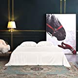 THXSILK 4pcs Silk Bed Sheets Set, 100% Long Stranded 25 Momme Mulberry Silk Bedding Set, Sheets and Pillowcase Set, Extremely Soft and Luxurious (White, King)