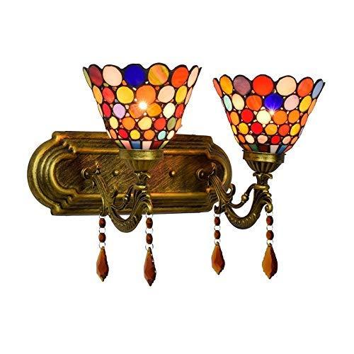 DALUXE Tiffany Apliques Interior Dormitorio Bohemio Estilo clásico camasado Cristal Pared lámpara vitrale Tiffany Hotel Hotel Moderno Cabeza lámpara Doble