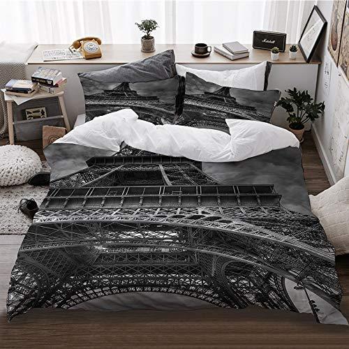 HATESAH Funda De Edredón,Arquitectura en Blanco y Negro fotografía Edificio Torre Eiffel Paris,3 Pcs Ropa de Cama Funda Nórdica Sábana Bajera (200 * 200CM)